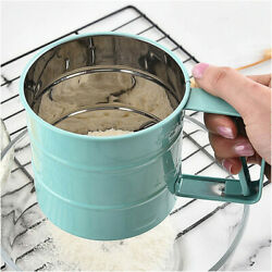 Flour Sieve Hand Held One Press Flour Filter Stainless Steel Bakery Tools X 3 Pc