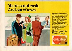 1975 Master Charge Credit Card Out Of Town Out Of Cash Relax Vintage Print Ad