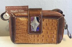 Madi Claire Genuine Leather Bronze Bag with Stylish Accents Adjustable Straps $26.00