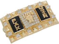 10k Or 14k Two Tone Gold Onyx Bold Statement Black Lives Matter Two Finger Ring