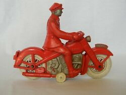 Antique Reliable Harley Davidson Plastic Rubber Toy Motorcycle Policeman 258