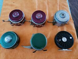 6-fly Fishing Vintage Reels South Bend Shakespeare And Perrine Collectibles Usa