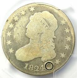1824/2 Capped Bust Quarter 25c - Certified Pcgs Good Details - Rare Date Coin