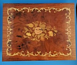 Vintage 1960s Very Large Italian Marquetry Jewelry Music Writing Box, Footed