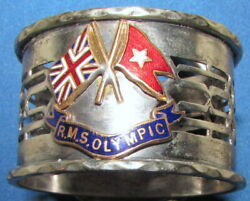 Antique Rms Olympic Sterling Silver Napkin Ring Enamel White Star Line 1910's