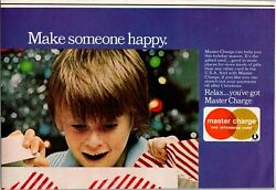 1974 Master Charge Credit Card Make Someone Happy Holidays Vintage Print Ad