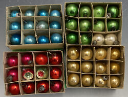4 Boxes Vintage Japan Glass Mini Christmas Tree Bulbs W/ Two Indents 4 Colors