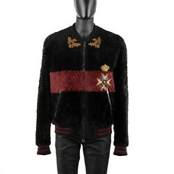 Dolce And Gabbana Sicily Embroidery Royal Military Fur Jacket Black Red 08931