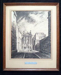 Historic Architectural Original Charcoal Drawing Ralph Allenand039s House Bath 1945