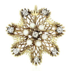 Antique Victorian 14k Gold Euro Diamond And Pearl Open Flower Brooch Pin Pendant