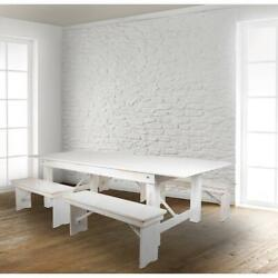 Hercules Series 8' X 40 Antique Rustic White Folding Farm Table And Four 40...