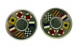 And Co. Sterling Silver And Enamel Flag Motif Cufflinks Vintage