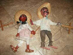 Lot Of 2 Used Vintage Mexican Marionette String Puppets