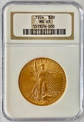 1924 20 St. Gaudens Double Eagle Ngc Ms 65 Gold Coin