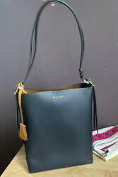 Tory Burch Perry Leather Bucket Bag Black Leather With Red Green Shoulder Strap $350.00