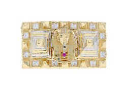 10k Or 14k Two Tone Gold Egyptian Pyramid Pharaoh Iced Out Two Finger Ring