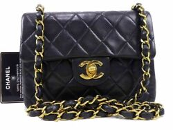 Auth Lamb Leather Quilted Mini Chain Shoulder Bag Women W18 M1374