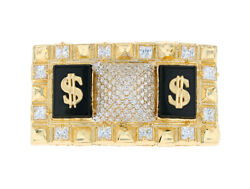 10k Or 14k Yellow Gold Cz Studded Egyptian Pyramid Dollar Signs Two Finger Ring