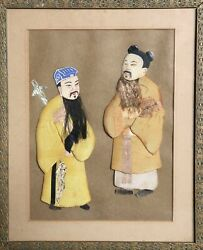 Unknown, Japanese, Two Men In Silk Robes, Collaged Fabric On Paper