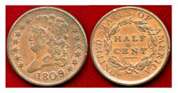 1809/6 1/2 Cent-first Year Of The Classic Head Half Cent++