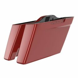 Red Hot Sunglo No Cutout Extended Bags Stretched Saddlebag For Harley 2014+