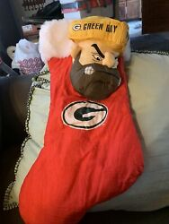Vintage Green Bay Packers Christmas Stocking Tough Guy Cheese Head Nfl Football