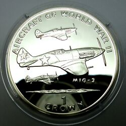 Isle Of Man 1 Crown 1995 Silver Coin Proof World War Ii Aircraft - Mig 3 T80