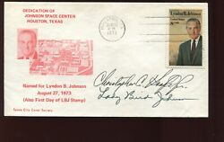 1973 Lady Bird Johnson And Director Signed Dedication Johnson Space Center Cover