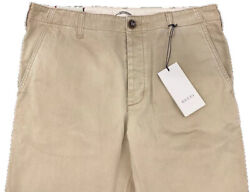 1200 Khaki Washed Dyed Cotton Pants Dragon Size Us 36 Made In Italy