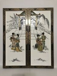 Rare Vintage Asian Lacque Wall Panels Art Set Of 2 Size Is 24andrdquo X10andrdquo