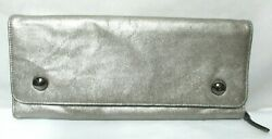 Kenneth Cole Leather pewter clutch wallet purse $23.99