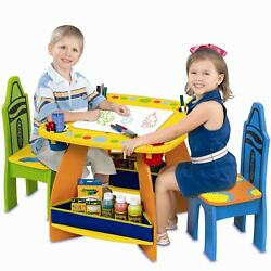 Kids Wooden Desk And Chairs Set 3-pc Table Crayola Crayons Storage Pockets Bins