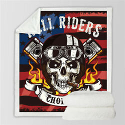 Flag Hell Riders Skull Fire Sherpa Plush Throw Blanket Fleece Bed Sofa Couch