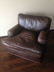 Two 2 Wide Club Leather Chairs. 100 Fine Leather. Sold As A Set Only.