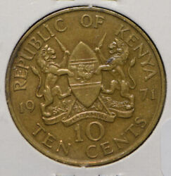 1971 Kenya 10 Cents Coin Nice Condition
