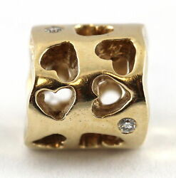 Authentic Pandora Silver Charm - 14k Yellow Gold Tunnel Of Love