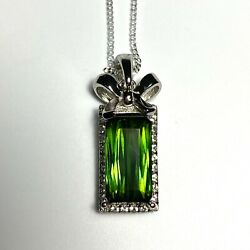2.2ct Natural Chrome Green Tourmaline 925 Sterling Silver 9ct 14k Gold Pendant