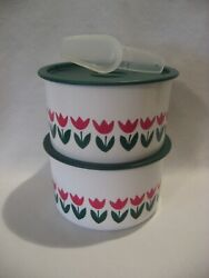 Tupperware One Touch Coffee House Canister Set Rare Tulip Containers +green Lids