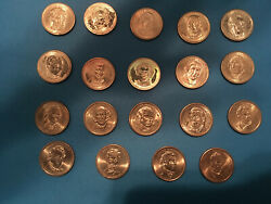 1 Coins Of 1st 16 Presidents Of Us Different Years Made - Words On Side Of Coin