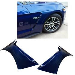 For 15-20 Ford Mustang Gt350 Style Front Side Fender Hood Vent Painted Blue L6