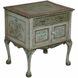 Rare Circa 1900 Hand Painted Claw And Ball Feet Side End Lamp Wine Table Cupboard