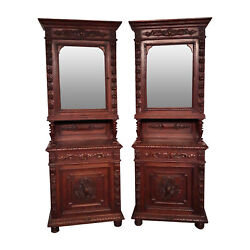 Matching Pair Of French Antique Hunt Cabinetand039s Narrow 19th Century Oak