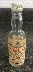Dewars White Label Blended Scotch Whisky Glass Mini Bottle For Twa Airlines