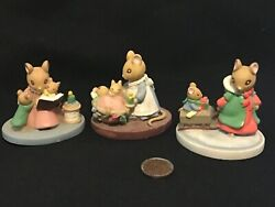 Lot 3 Avon Forest Friends Mice Figurines Story Time, All Tucked In, Sleigh Ride