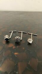 Three Tie Tacks, 3 Different Styles, Bar And Chain Tack Back, All Euc