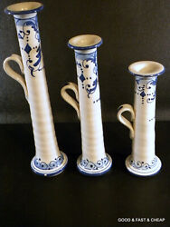 3 Blue And White Ceramic Candle Sticks Made In Italy Hand Painted 12, 10 And 8