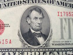 2x 1928f Red Seal 5.00 United States Notes Unc Sequential
