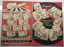 F.w. Woolworth Co Spring 1953 And 54 Vogart Embroidery Color Charts Advertising