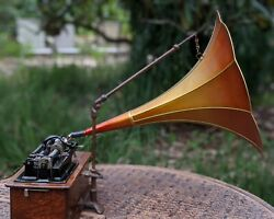 Hands Cylinder Phonograph Player Horn, Gold Rib Tangerine Field 26 Length Old