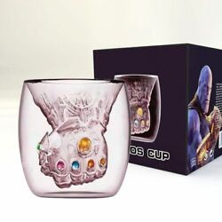 Infinity Gauntlet Mug Heat Resistant Double Wall Glass Thanos Gloves Coffee Cup